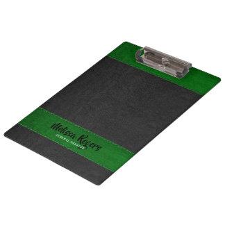 Pranchetas Efeito de couro dos pontos do falso preto & verde