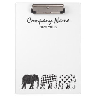 Pranchetas Elefante Na moda Preto Branco Moderno Empresa