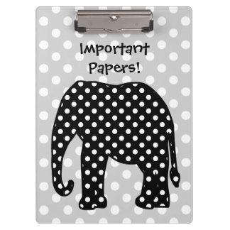 Pranchetas Elefante preto e branco das bolinhas