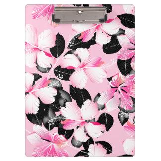 Pranchetas Hibiscus cor-de-rosa com folhas pretas