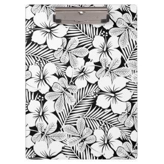 Pranchetas Hibiscus e folhas de palmeira brancos