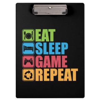 Pranchetas Jogo - coma, durma, jogo, repetição - Gamer,