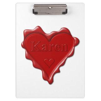Pranchetas Karen. Selo vermelho da cera do coração com Karen