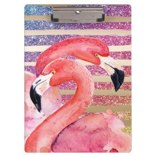Pranchetas Listras do ouro do brilho dos flamingos da