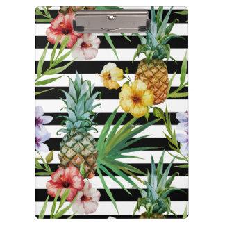 Pranchetas Listras tropicais do preto da flor do abacaxi da