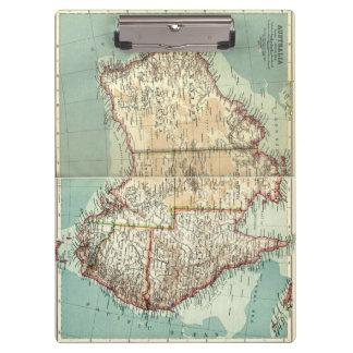 Pranchetas Mapa detalhado do continente australiano antigo do