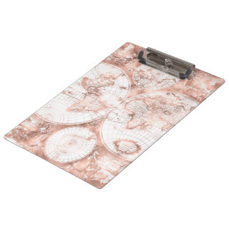 Pranchetas Mapa do mundo cor-de-rosa da antiguidade do brilho