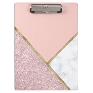 Pranchetas Mármore cor-de-rosa geométrico elegante do branco