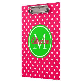 Pranchetas Monograma cor-de-rosa e verde do verão brilhante