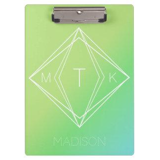 Pranchetas Monograma geométrico moderno | verde, inclinação