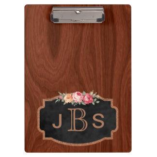 Pranchetas Ouro cor-de-rosa da madeira Monogrammed dos rosas