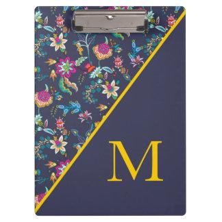 Pranchetas Ouro dos azuis marinhos e monograma floral