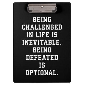 Pranchetas Palavras inspiradas - desafio contra a derrota