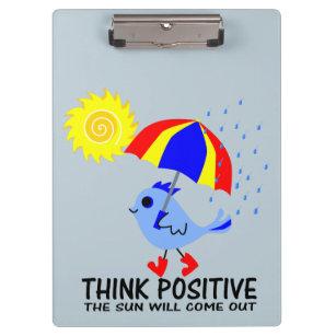 Pranchetas Pássaro azul - pense a mensagem positiva