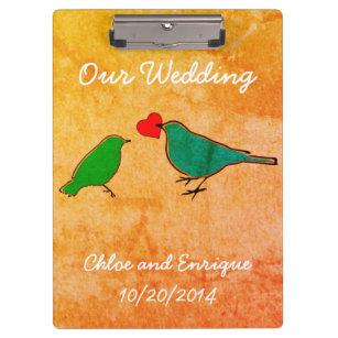 Pranchetas Pássaros e casamento da aguarela do coração do