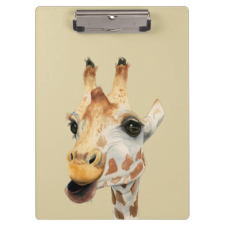 """Pranchetas Pintura da aguarela do girafa da """"mastigação"""""""