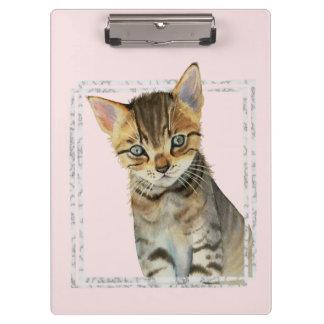 Pranchetas Pintura do gatinho do gato malhado com quadro de