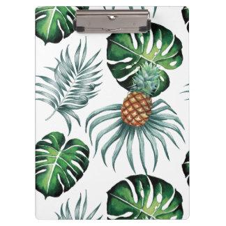 Pranchetas Pintura tropical do abacaxi da aguarela no branco