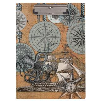 Pranchetas Polvo náutico marinho do design do vintage do