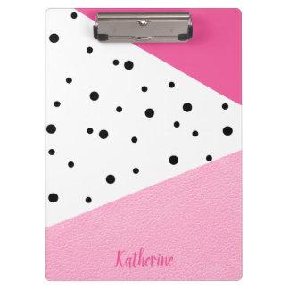 Pranchetas Pontos pretos de couro cor-de-rosa geométricos