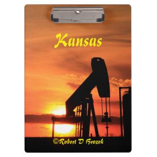 Pranchetas Por do sol de Kansas com o conselho de grampo da