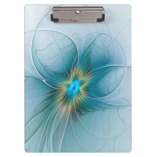 Pranchetas Pouca flor azul moderna do Fractal do ouro da