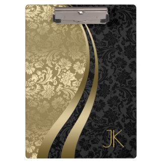 Pranchetas Preto e damascos florais geométricos do ouro