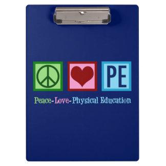 Pranchetas Professor do PE do amor da paz