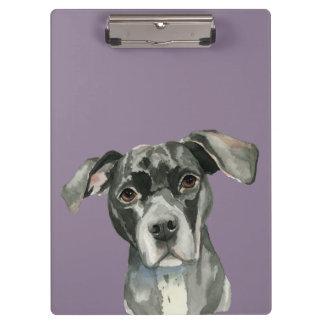 Pranchetas Retrato preto da aguarela do cão do pitbull