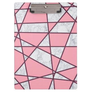 Pranchetas rosa pastel e vermelho de mármore brancos