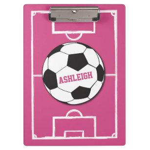3a1cc5f610 Pranchetas Rosa personalizado da bola e do campo de futebol