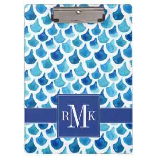 Pranchetas Teste padrão azul da escala da aguarela
