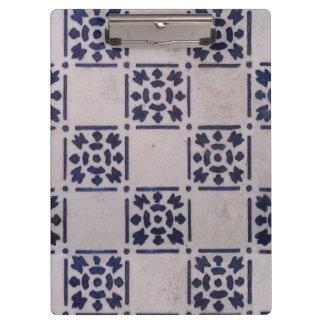 Pranchetas Teste padrão branco azul do impressão da arte do