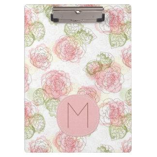Pranchetas Teste padrão floral esboçado do rosa e do abricó