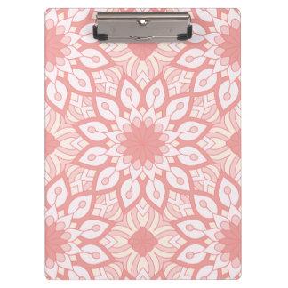Pranchetas Teste padrão geométrico da mandala floral rosado