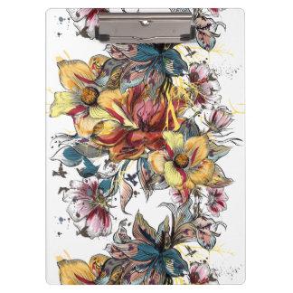 Pranchetas Teste padrão tirado realístico do buquê floral