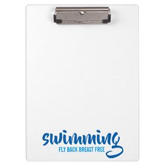 Pranchetas Texto tipográfico nadador do peito da mosca para