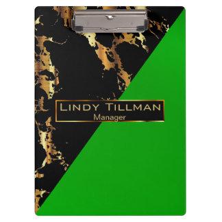 Pranchetas Verde limão, preto e design do mármore do ouro