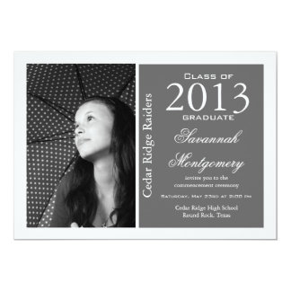 Prata 2013 dos anúncios da conclusão do ensino convite 12.7 x 17.78cm