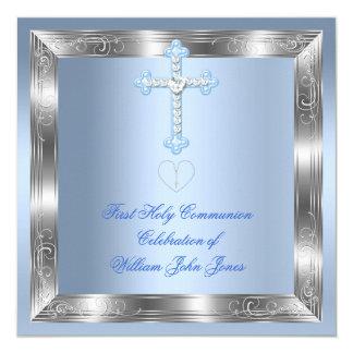 Prata 2a azul do comunhão santamente do menino convites personalizado