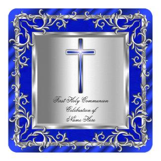 Prata 2r azul do comunhão santamente do menino ou convite personalizado