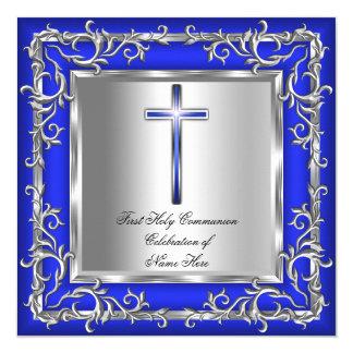 Prata 3r azul do comunhão santamente do menino ou convite