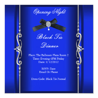 Prata azul formal do traje de cerimónia da noite convites personalizados