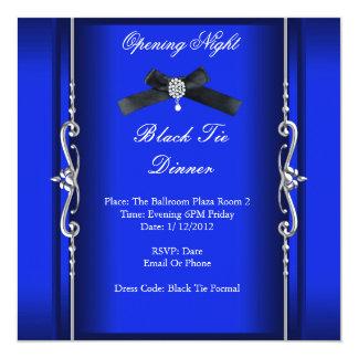 Prata azul formal do traje de cerimónia da noite convite quadrado 13.35 x 13.35cm