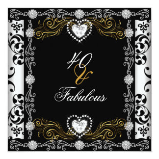 Prata branca 40th do preto fabuloso do ouro do convite quadrado 13.35 x 13.35cm