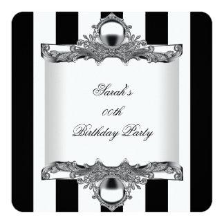 Prata branca preta da festa de aniversário da convite quadrado 13.35 x 13.35cm