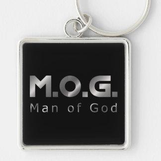 Prata cristã M.O.G. do guerreiro (homem do deus) Chaveiro Quadrado Na Cor Prata