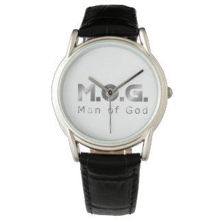 Prata cristã M.O.G. do guerreiro (homem do deus) Relógios De Pulso