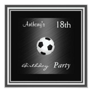 Prata da festa de aniversário do futebol do convite quadrado 13.35 x 13.35cm