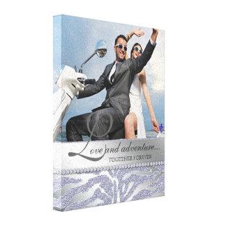 Prata das canvas da foto do noivado do casamento d